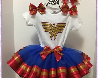 SAMPLE SALE:  Wonder Woman Ribbon Tutu; Ready to ship; Size 18 Month Body Suit; Will Personalize in Gold Or Red Or Royal Blue Glitter Vinyl