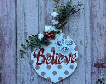Christmas Door hanger, Believe Christmas Sign, Christmas door sign, Christmas door, Christmas door Decor, Christmas door Decoration,Believe