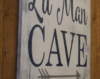 Lil Man Cave Wood Sign Tribal Arrow Nursery Woodland Nursery Boys Nursery Wall Decor Gray And Navy Nursery Baby Gift Distressed Wood