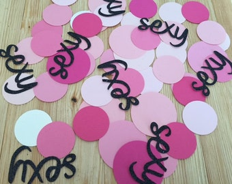 """75 pc Party Confetti, 1"""" & 2"""" Pink Circles and Black Glitter 'SEXY', Bachelorette Party, Lingerie Shower, Girl's Night Out"""