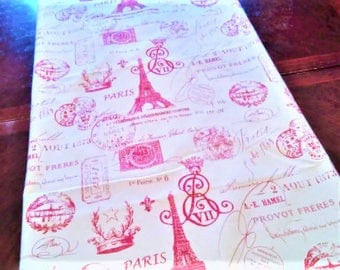Table Runner, Red French Script Table Linen, French Eiffel Tower, Table Cloth/Scarf, French, Banquet, 14''x72'' Buffet Runner, Dresser Scarf
