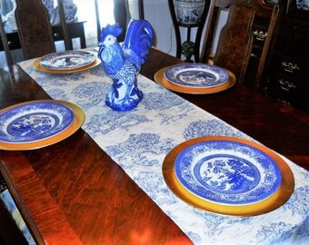 Blue Toile Table/Bed Runner, French Toile Table Cloth/Scarf, French Table/Bed Linen, 16''x72'' Buffet Runner, Dresser Runner, Toile Scarf.