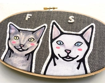 Custom Cat Portrait - Custom Portraits - Pet Portrait - Embroidery Hoop Art - Pet Lovers - Gift for Pet Lovers