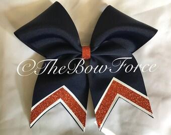 "Navy Orange Glitter Tail Bow 3"""