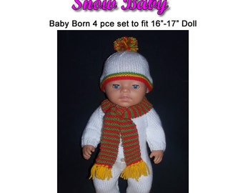 Baby Born Knitting Pattern SNOW BABY fits 16 to 17 inch dolls (pattern only)