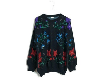80s floral sweater // black jumper with bright flowers // hipster womens vintage sweater // retro black flower print jumper