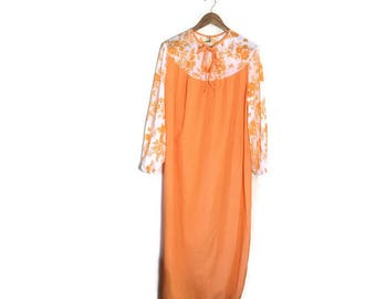 Vintage 60s orange nightie / retro night dress / orange and white nylon / retro 60s / nightie / orange retro nylon nightie