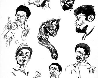 Black Panthers Art Print Black Panther Party Activist Art African American Ink Afrocentric Wall Decor Limited Edition Poster Print