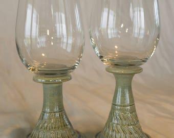 Pair of Handmade Pottery Wine Glasses, Stoneware, Wheel Thrown, Studio Pottery, Unique Stemware, Perfect Wedding or Anniversary Gift!!