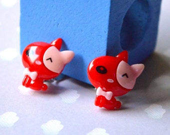 Red cat clips earrings