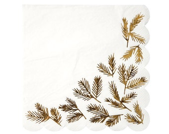 CLEARANCE! Gold Pine Paper Napkins (Set of 16) - Meri Meri Large Christmas Party Napkins with Shiny Gold Foil