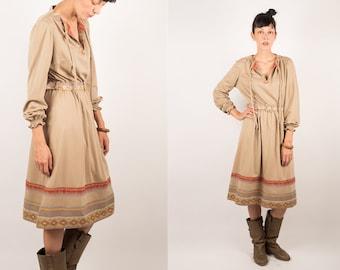 70s Long Sleeves Navajo Ethnic Print Belted Beige Dress, Boho Hippie Peasant Midi Dress, M