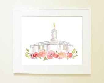 Ciudade Juarez Mexico LDS Temple Watercolor Print