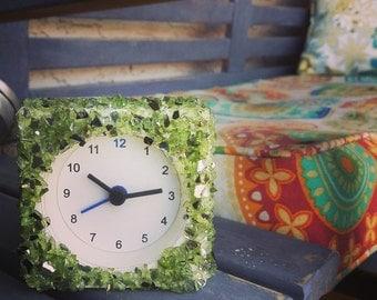 Green glass clock
