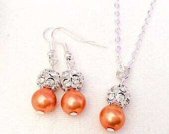 Orange Jewelry Tangerine Bridesmaid Jewelry Tangerine Necklace  Bridesmaid Gift Wedding