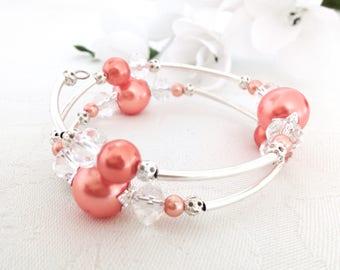 Coral Bracelet, Coral Jewellery, Coral Pearl Bracelet, Coral Pearl Jewelry, Bridesmaid Gift