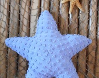 Small starfish pillow, chenille pops pillows, nautical decor, beach pillows,nautical baby, shelf sitters, starfish ornies, coastal decor