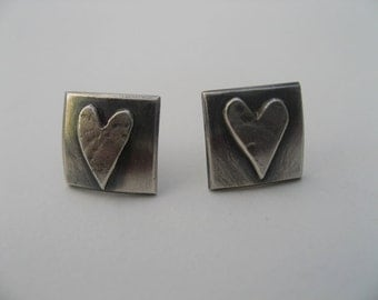 lace textured heart stud earrings in sterling silver