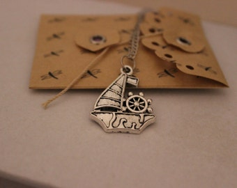 Sailboat Necklace, Boat Pendant, Gift Jewelry, Cute