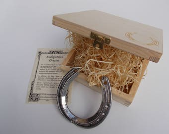 Bridal wedding lucky real shiny silver horseshoe in wooden presentation case