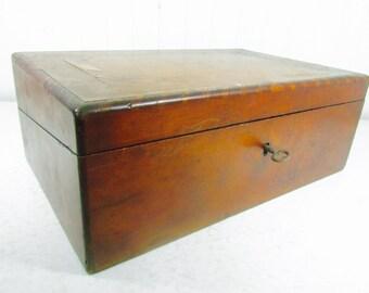 Antique lap desk, primitive desk, writing desk,ink well, writing box, laptop desk, storage box, wood desk, vintage desk