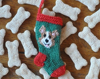 Corgi  Hand-Knit Christmas Stocking Ornament  PEMBROKE WELSH CORGI