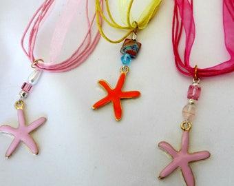 Starfish necklaces enamel pink and orange_beach jewelry_mermaids necklace