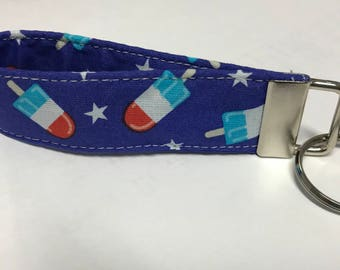 Bomb Pops Key Fob / Key Chain // Wristlet // Red White and Blue // Patriotic Key Chain