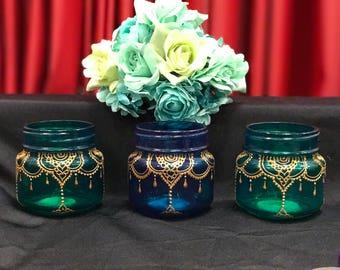 Mason jar, Bohemian Lantern, Moroccan Home Decor, Mason Jar Lantern, Painted Mason Jar Decor-LAYAAN Henna Jar with Gold Detail