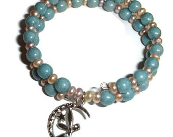 Fairy bracelet double wrap bracelet baby blue glass white lotus pearls memory wire bracelet double cuff bracelet silver fairy pearl bracelet