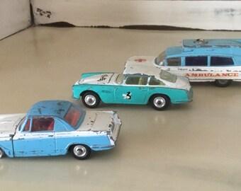 Vintage Corgi Triumph Herald Coupe, Aston Martin D.B.4., Superior Ambulance on Cadillac Chassis