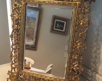 Vintage Ornate Brass Frame with Beveled Mirror