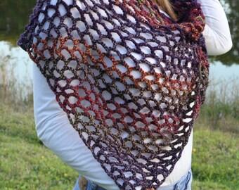 Crochet triangle scarf. Crochet scarf shawl.  Multicolor handmade scarf.  Spring/autumn scarf