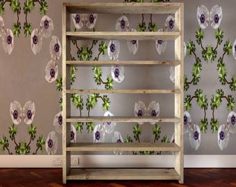 Reclaimed wooden bookcase 180cm x 120cm x 21cm. Equal spacing