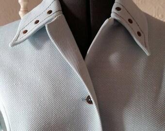 Vintage 1970s Lerose shirt dress in powder blue