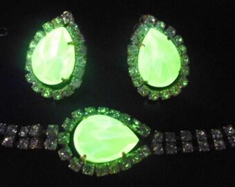 Set Czech hand made Rhinestone Bracelet + Earrings - VASELINE URANIUM -  Kutz-Cz - SIGNED!!!