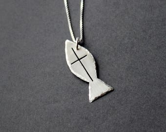 Handcrafted Christian Fish with Cross Necklace - Fish Pendant - Fish Cross - Sterling Silver - Christian Fish Jewelry