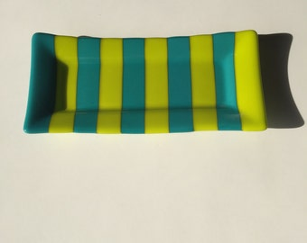 Turquoise Blue and Lemon Green Fused Glass Dish Platter