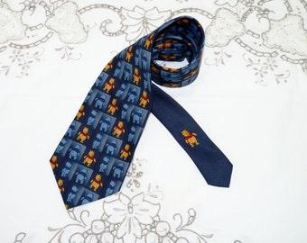 Disney Mens Winnie the Pooh Necktie, Blue, Retro, Novelty Neck Tie, Suit Tie, Business Tie, Menswear, Mens Accessories,