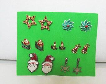 Lot of Christmas Earrings / 7 Pairs of Vintage Pierced Earrings