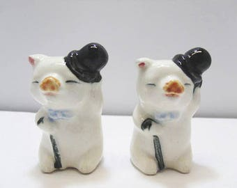 Ceramic Dancing Pig Figurines With Black Top Hats & Blue Canes / Vintage White Ceramic Dancing Pigs