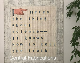 Modern Art Quilt, Quilted Wall Hanging, Science Quilt