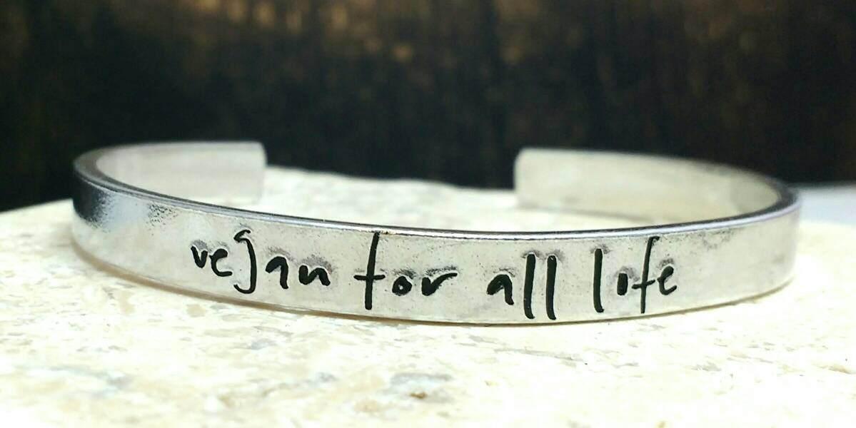 Vegan for all life cuff bracelet modern handwritten font bracelet - adjustable - handstamped - aluminium, copper, brass or sterling silver