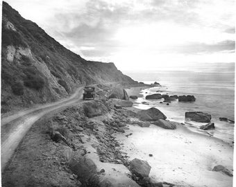 Automobile driving north on the Ocean Road from Santa Monica, 1910, California
