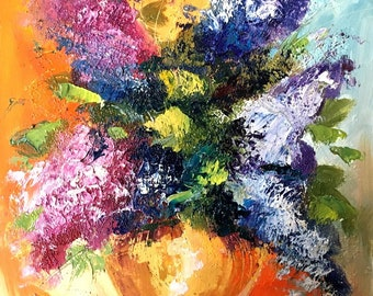 Oil Painting on canvas board Original painting Flower wall art Home decor wall art Kitchen décor Still life painting