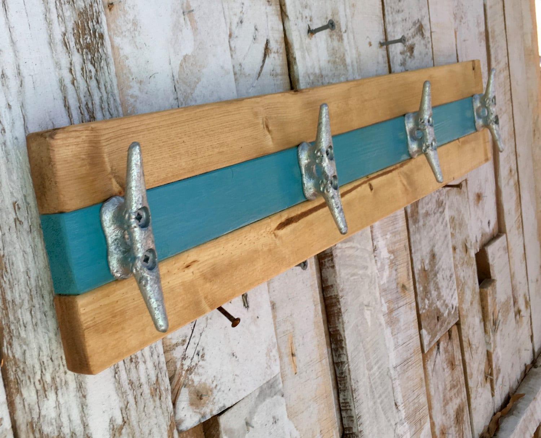 Nautical Boat Cleat Coat Rack, Teal And Natural Pine, Towel Rack, Hat Rack,  Book Bag Rack, Or Key Rack Part 86