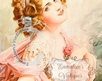 Vintage Shabby Victorian Woman and Roses Digital Download — Printable Ephemera