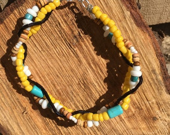 Braided Bead Bracelet - Yellow, Turquoise, White and Black
