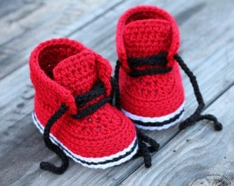 """Crochet Pattern Boys """"Chase"""" Street Boot cool Crochet Pattern, Red Crochet Baby Boots, cute street shoes PATTERN ONLY"""