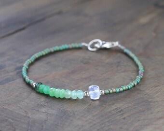Delicate Chrysoprase & Moonstone Gemstone Seed Bead Bracelet, Skinny Green White Beaded Layering Bracelet, Shaded Chrysoprase Jewelry